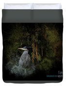 Great Blue Heron On The River Duvet Cover