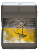 Great Blue Heron On Yellow Duvet Cover