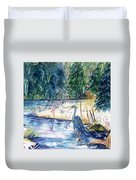 Great Blue Heron Square Cropped  Duvet Cover