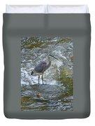 Great Blue Heron Standing In Stream Duvet Cover