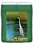 Great Blue Heron Standing Tall Duvet Cover