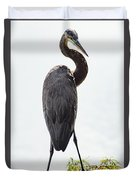 Great Blue Heron Surprised From Behind Duvet Cover
