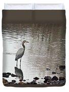Great Blue Heron Wading 2 Duvet Cover