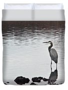 Great Blue Heron Wading 3 Duvet Cover by Douglas Barnett
