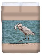 Great Blue Heron Walking With Fish #4 Duvet Cover