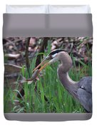 Great Blue Heron With His Catch Duvet Cover