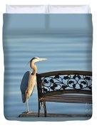 Great Blue Heron....resting My Leg Duvet Cover