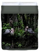 Great Blue Standoff In Watercolor Duvet Cover