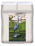 Great Blue Wading The Tuck Duvet Cover