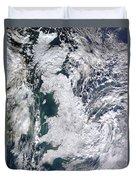 Great Britain Snowy Duvet Cover by Artistic Panda
