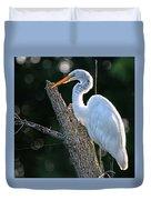 Great Egret At Rest Duvet Cover
