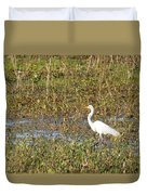 Great Egret Fishing Duvet Cover