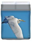 Great Egret Flying High Duvet Cover