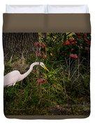 Great Egret In The Garden Duvet Cover