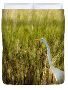 Great Egret In The Morning Dew Duvet Cover