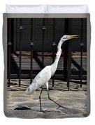Great Egret In The Neighborhood Strutting 1 Duvet Cover