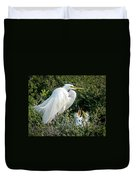 Great Egret Mom And Babies Duvet Cover