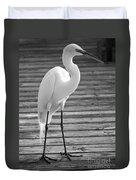 Great Egret On The Pier - Black And White Duvet Cover