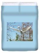 Great Egret Over The Treetops Duvet Cover