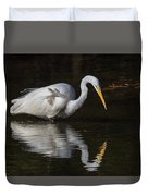 Great Egret Staring At His Reflection Duvet Cover