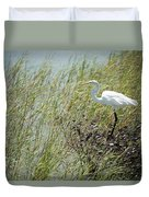 Great Egret Through Reeds Duvet Cover
