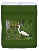 Great Egret Walking Duvet Cover