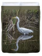 Great Egret With Reflection Duvet Cover