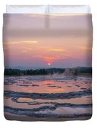 Great Fountain Geyser Sunset Reflections Duvet Cover