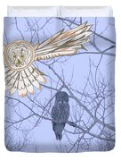 Great Gray Owl Together Duvet Cover