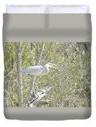 Great Heron With Mouth Open Duvet Cover