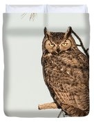 Great Horned Owl At Dusk Duvet Cover