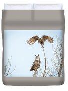Great Horned Owl Couple Duvet Cover