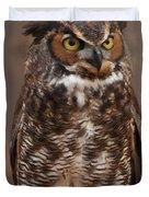 Great Horned Owl Digital Oil Duvet Cover