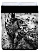 Great Horned Owl In Black And White Duvet Cover