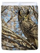 Great Horned Owl In Cottonwood Tree Duvet Cover