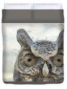 Great Horned Owl Pencil Duvet Cover
