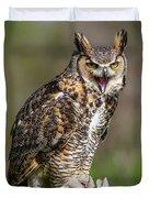 Great Horned Owl Screeching Duvet Cover