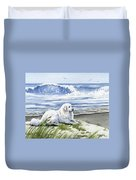 Great Pyrenees At The Beach Duvet Cover
