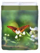 Great Spangled Fritillary Looking At Me Duvet Cover