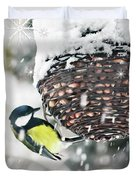 Great Tit In The Snow Card Duvet Cover