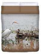 Great White Egret And Ducks Duvet Cover