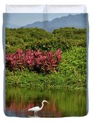 Great White Egret Fishing In A Pond With Tropical Plants And Sie Duvet Cover