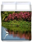 Great White Egret Hunting In A Pond In Mexico With Iguana And Re Duvet Cover