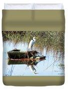 Great White On Row Boat Duvet Cover