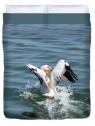 Great White Pelican In Flight Duvet Cover