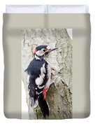 Greater Spotted Woodpecker Duvet Cover