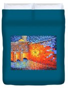 Wailing Wall Greatness In The Evening Jerusalem Palette Knife Painting Duvet Cover