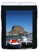 Greece Island Harbor Duvet Cover