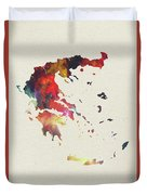 Greece Watercolor Map Duvet Cover