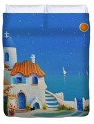 Greek Blue Santorini A Greek Fairytale Duvet Cover